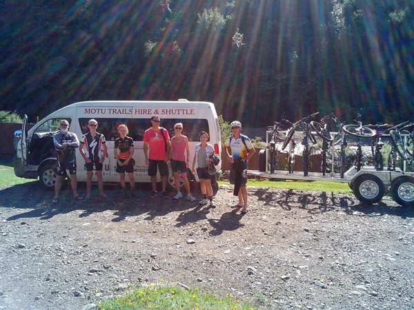 Mountain bikers about to depart on their Pakihi Track adventures from Bushaven
