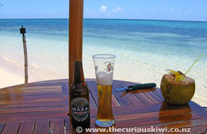 Beer and coconut water by the sea at Fafa Island Resort