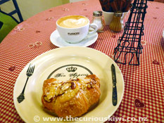 Coffee and croissant at Le Cafe de Paris