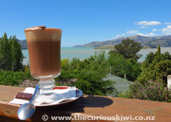 Hot Chocolate with a view at She Universe, Governors Bay